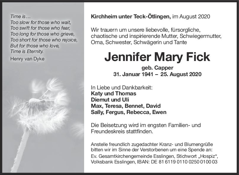 Trauer Jennifer Mary Fick <br><p style=