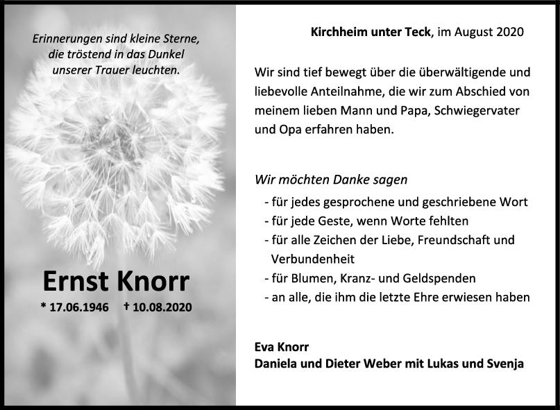 Danksagung Ernst Knorr <br><p style=