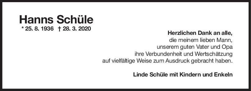 Danksagung Hanns Schüle <br><p style=