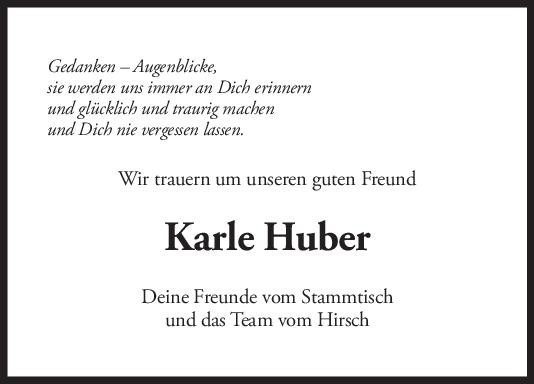 Nachruf Karle Huber <br><p style=
