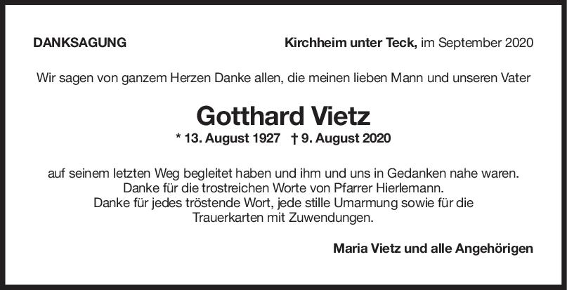 Danksagung Gotthard Vietz <br><p style=