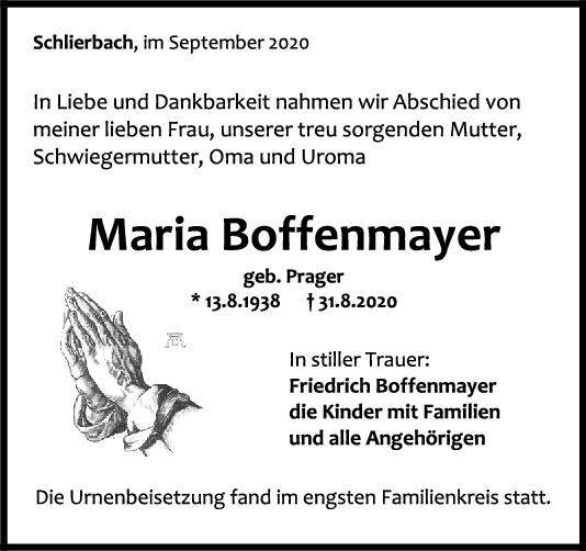 Trauer Maria Boffenmayer <br><p style=
