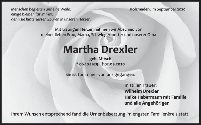 Trauer Martha Drexler <br><p style=
