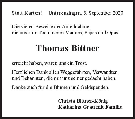 Danksagung Thomas Bittner <br><p style=