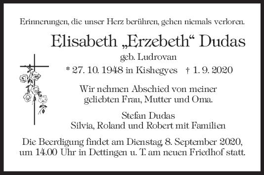 Trauer Elisabeth Dudas <br><p style=