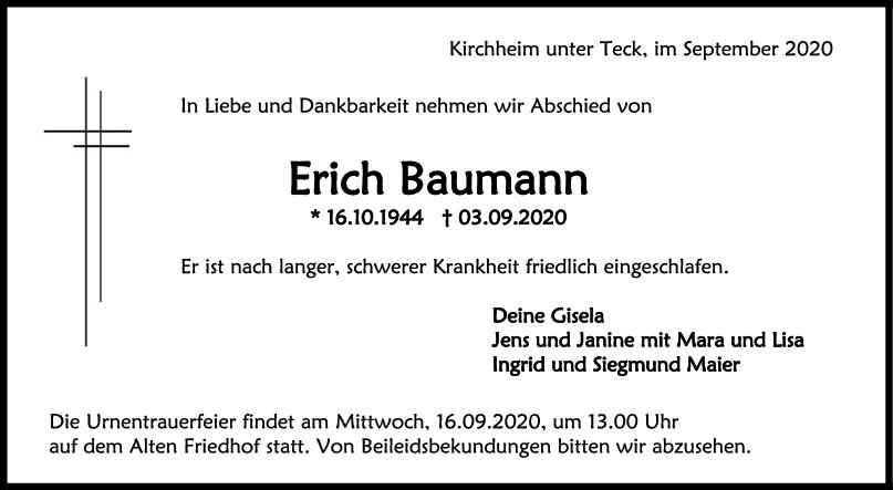 Trauer Erich Baumann <br><p style=