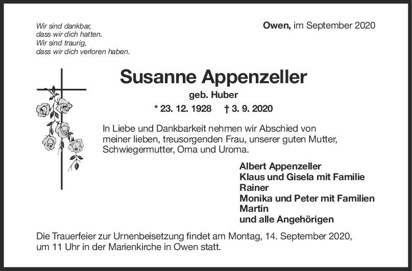 Trauer Susanne Appenzeller <br><p style=