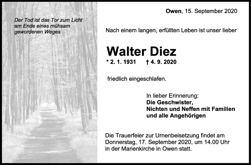 Trauer Walter Diez <br><p style=