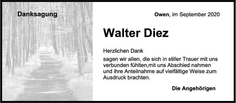 Danksagung Walter Diez <br><p style=