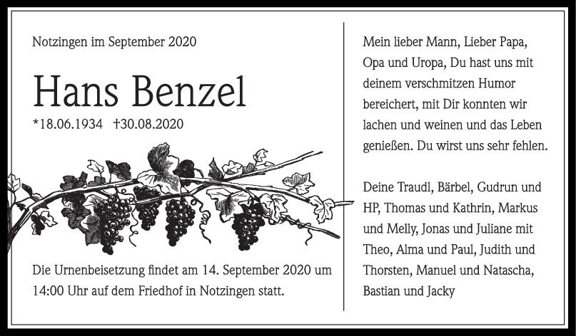 Trauer Hans Benzel <br><p style=
