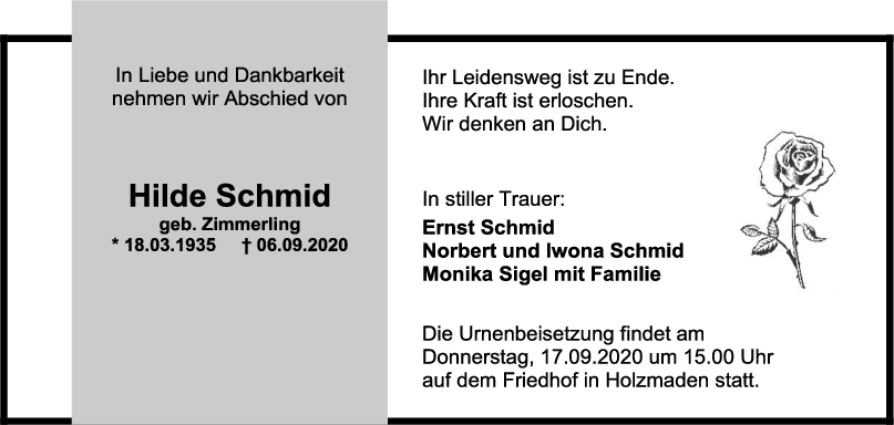 Trauer Hilde Schmid <br><p style=
