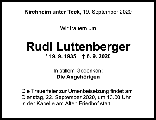 Trauer Rudi Luttenberger <br><p style=