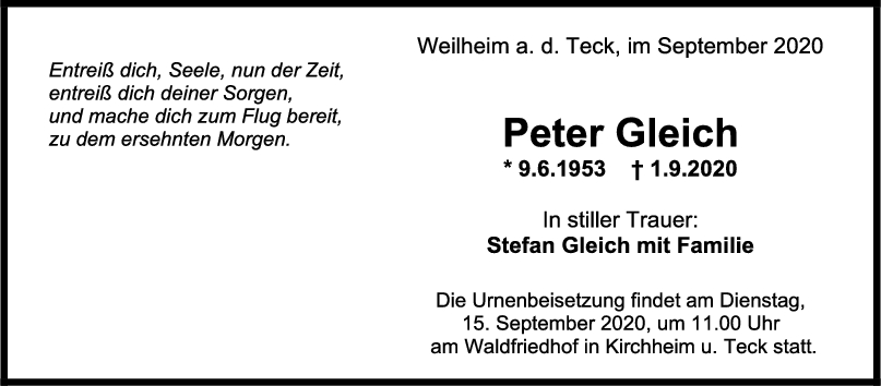 Trauer Peter Gleich <br><p style=