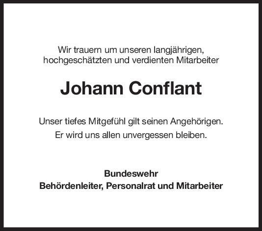 Nachruf Johann Conflant <br><p style=