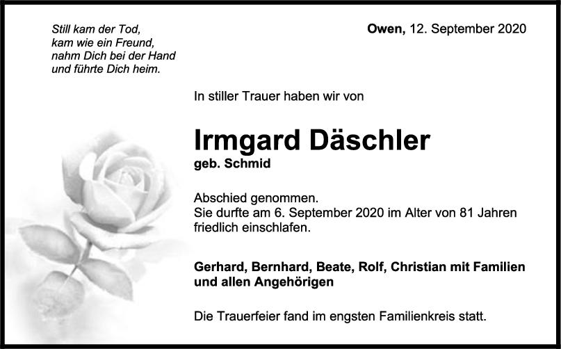 Trauer Anzeige Däschler <br><p style=