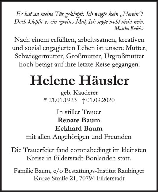 Trauer Helene Häusler <br><p style=