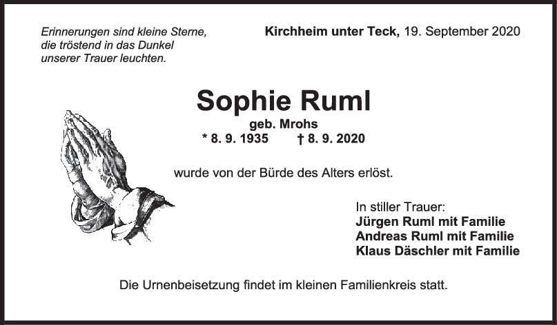 Trauer Sophie Ruml <br><p style=