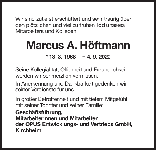 Nachruf Marcus A. Höftmann <br><p style=