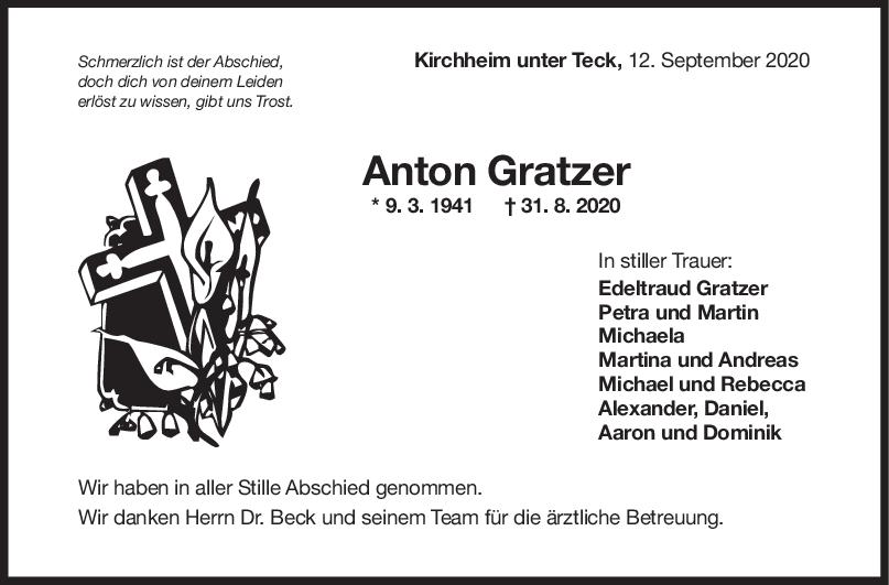 Trauer Anton Gratzer <br><p style=
