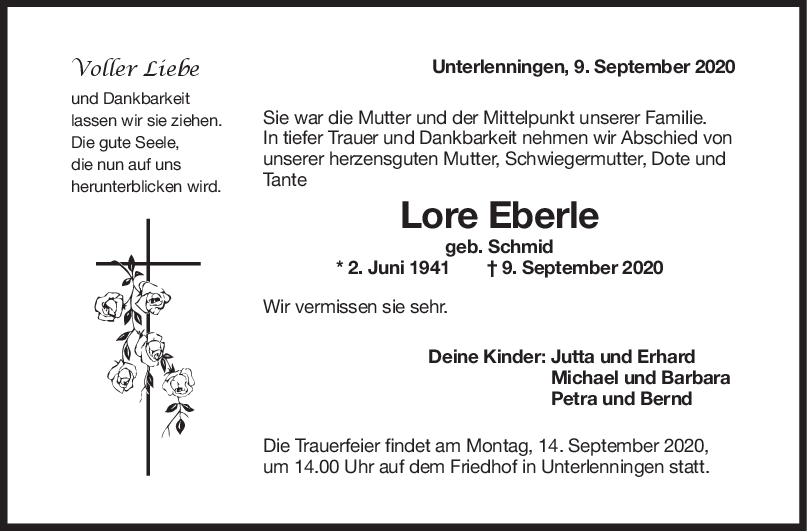 Trauer Lore Eberle <br><p style=