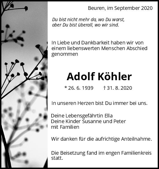 Trauer Adolf Köhler <br><p style=