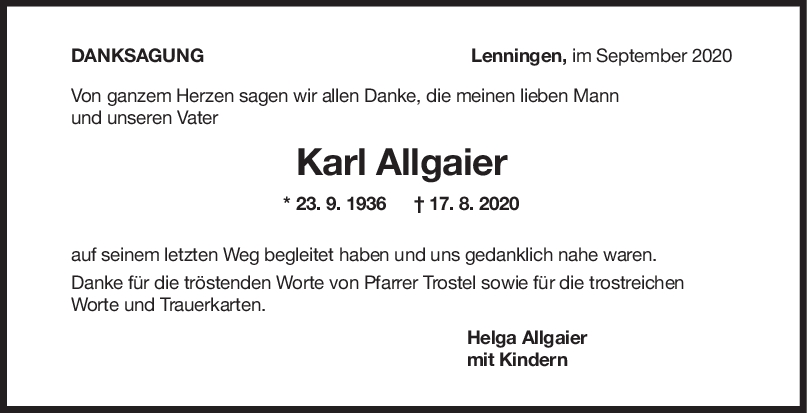 Danksagung Karl Allgaier <br><p style=
