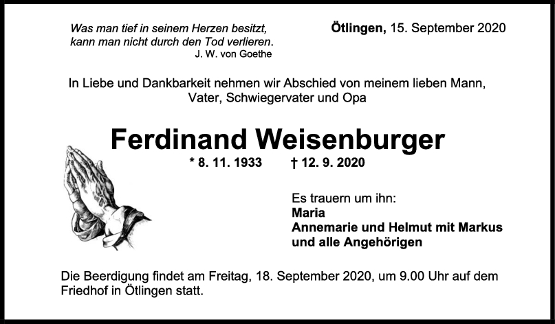 Trauer Ferdinand Weisenburger <br><p style=