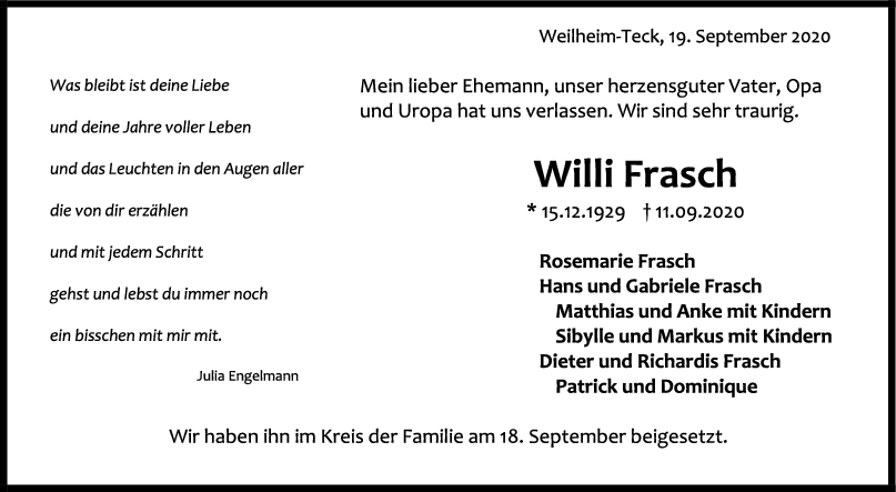 Trauer Willi Frasch <br><p style=