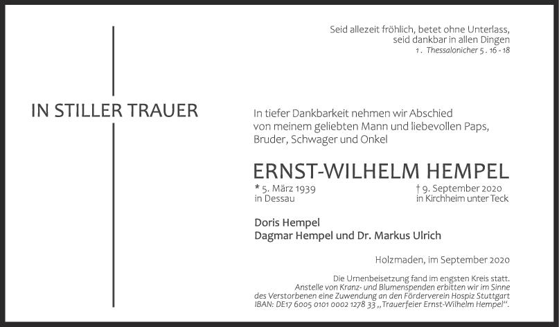 Trauer Ernst-Wilhelm Hempel <br><p style=