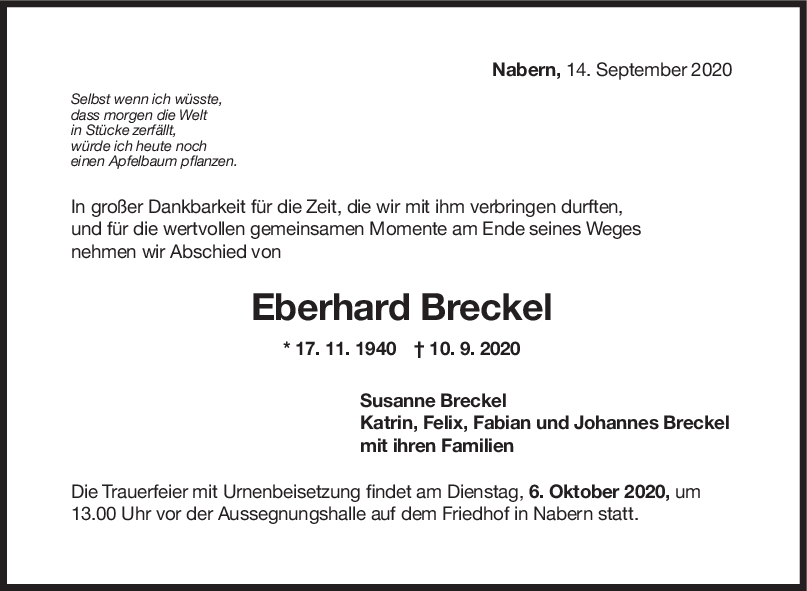 Trauer Eberhard Breckel <br><p style=