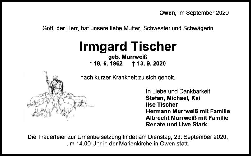 Trauer Irmgard Tischer <br><p style=