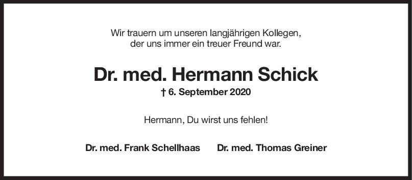 Nachruf Hermann Schick <br><p style=