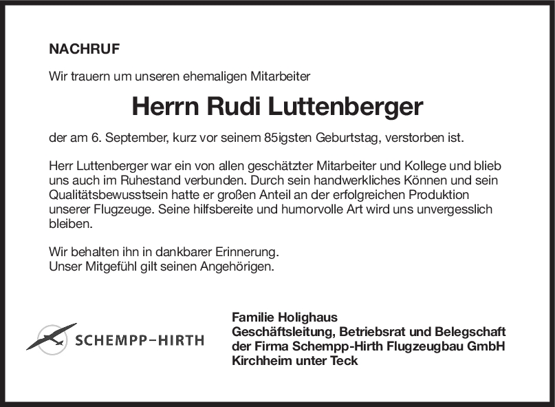 Nachruf Rudi Luttenberger <br><p style=