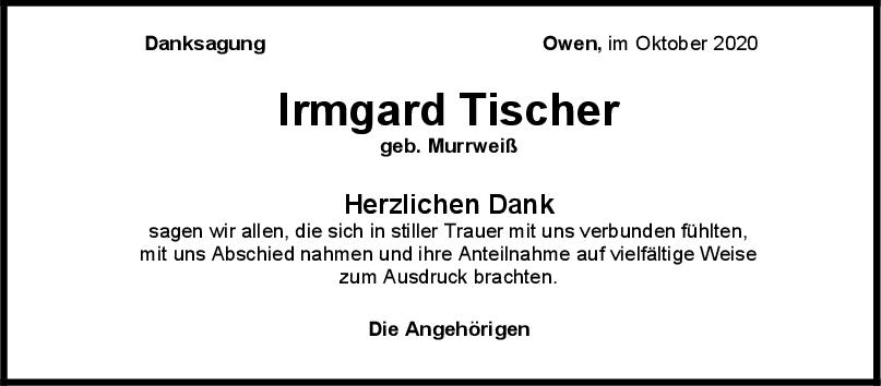 Danksagung Irmgard Tischer <br><p style=