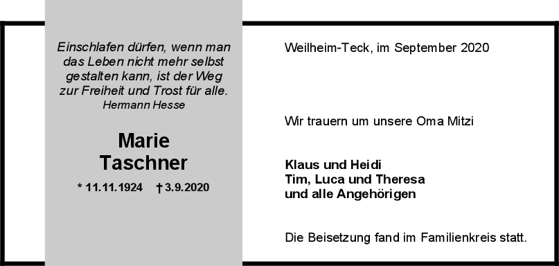 Trauer Marie Taschner <br><p style=