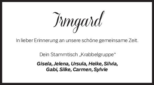 Nachruf Irmgard Tischer <br><p style=