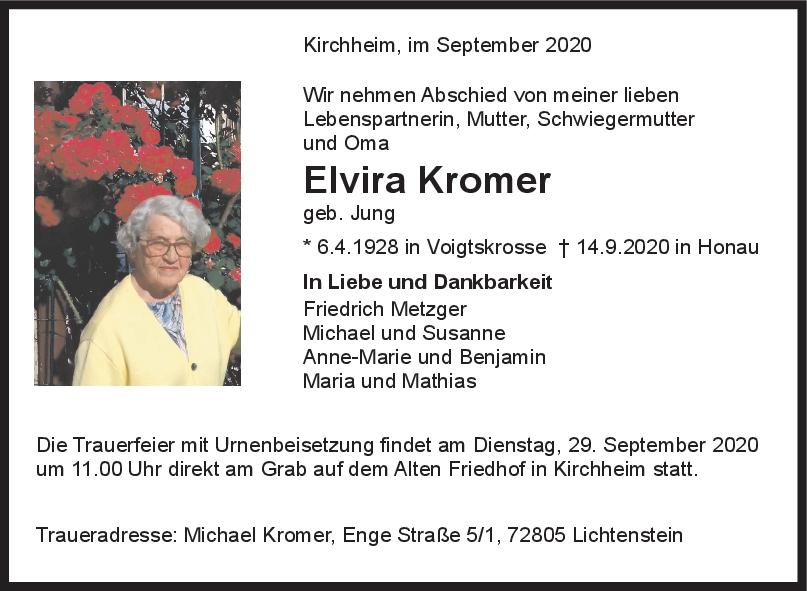 Trauer Elvira Kromer <br><p style=