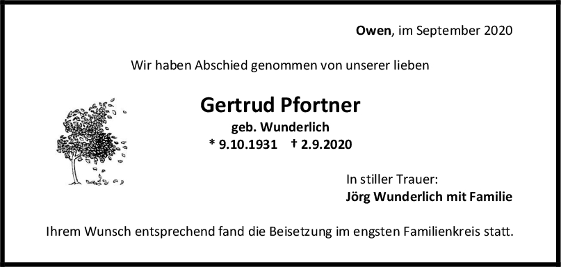 Trauer Gertrud Gertrud Pfortner <br><p style=