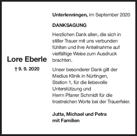 Danksagung Lore Eberle <br><p style=