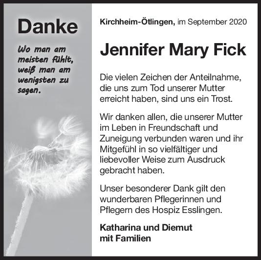 Danksagung Jennifer Mary Fick <br><p style=