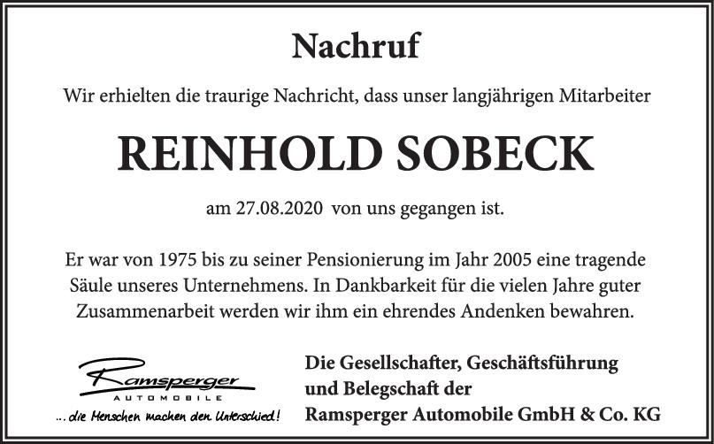 Nachruf Reinhold Sobeck <br><p style=