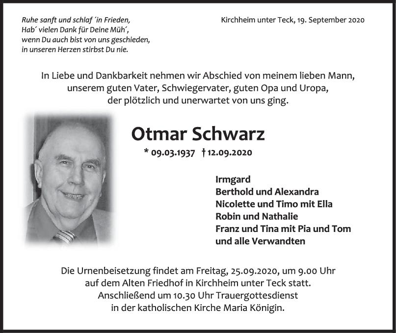 Trauer Otmar Schwarz <br><p style=