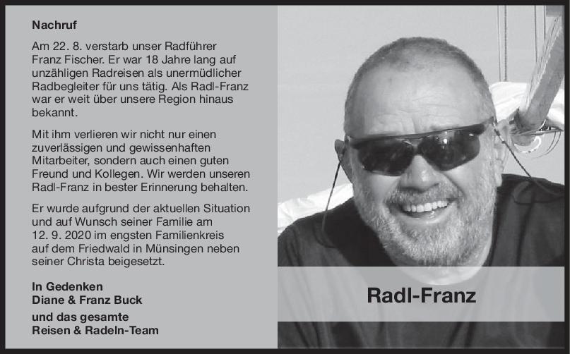 Nachruf Franz Fischer <br><p style=