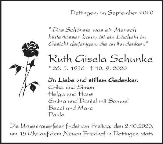 Trauer Ruth Gisela Schunke <br><p style=