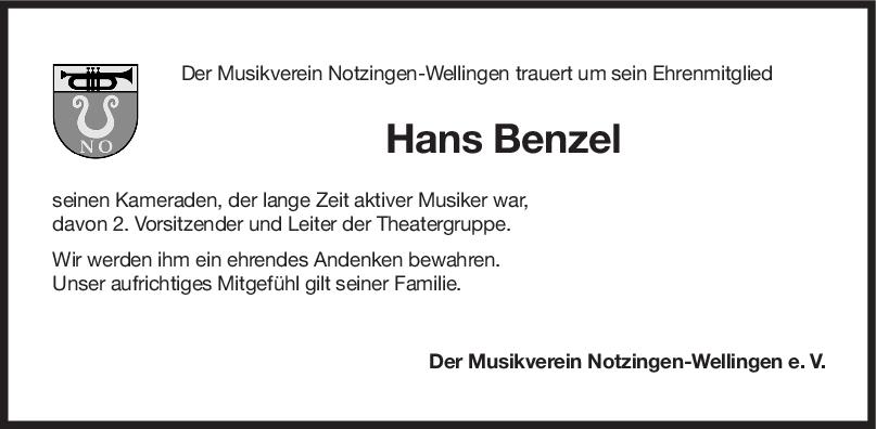 Nachruf Hans Benzel <br><p style=