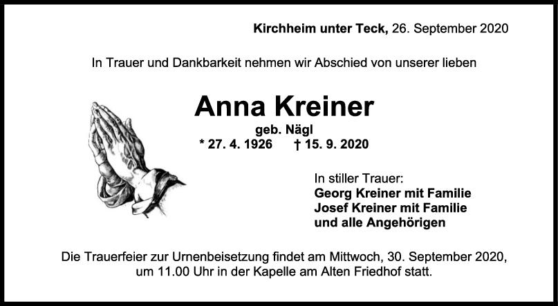 Trauer Anna Kreiner <br><p style=