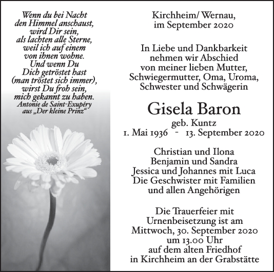 Trauer Gisela Baron <br><p style=