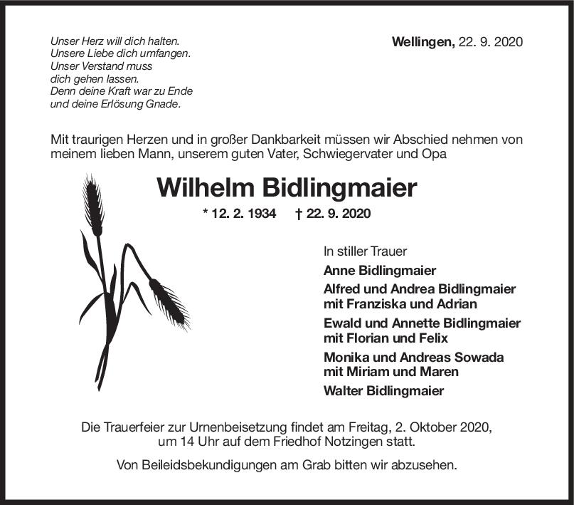 Todesanzeige Wilhelm Bidlingmaier <br><p style=