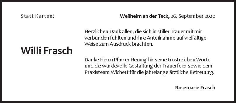 Danksagung Willi Frasch <br><p style=