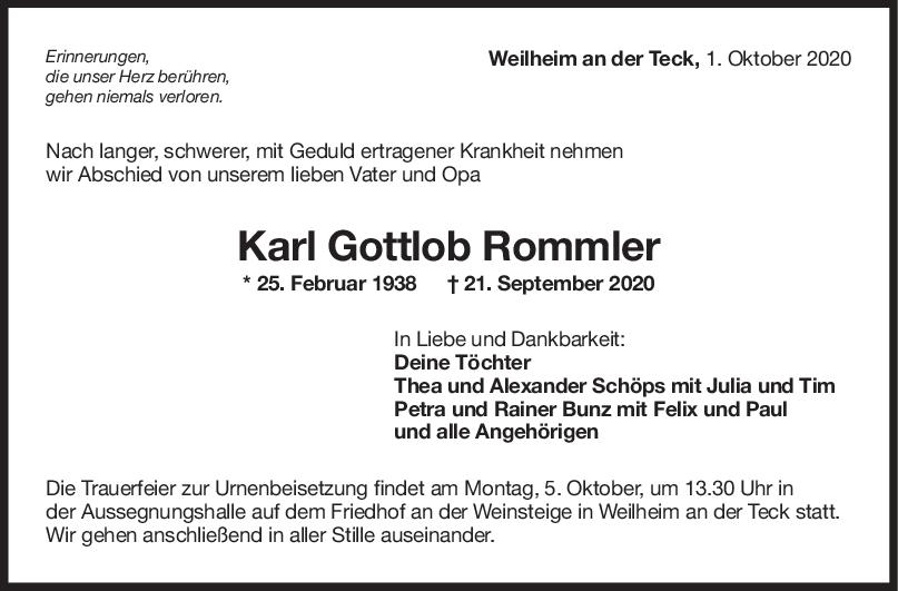 Trauer Karl Gottlob Rommler <br><p style=